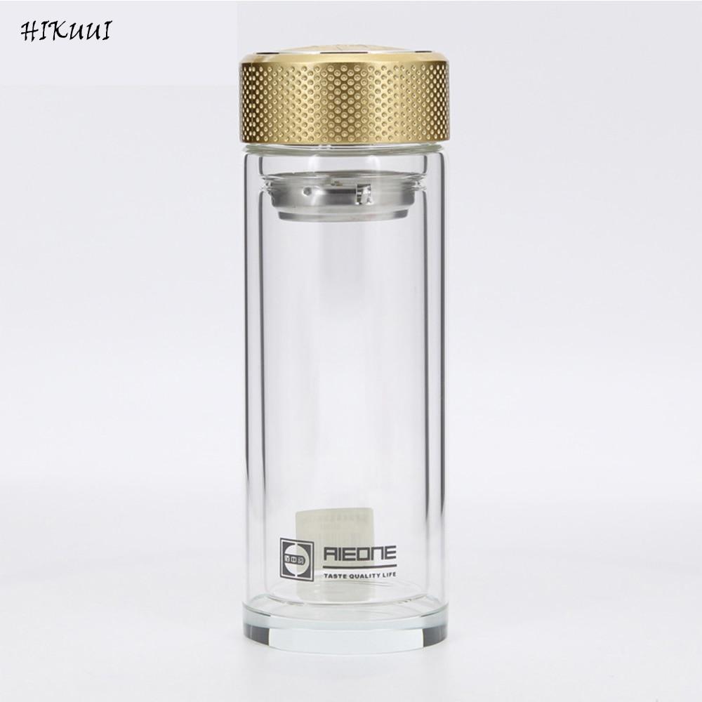 Borosilicate Bouteille D'eau En Verre Double-couche Transparent Cristal Verre Bouteille D'eau 500 ml Verres Couleur D'or et Noir