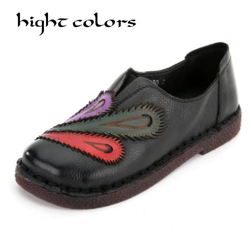 2018 Fashion Flat Shoes Woman Loafers Ethnic Style Handmade Genuine leather Women's Shoes & Flats Mixed Color Casual Shoes hot sale mens italian style flat shoes genuine leather handmade men casual flats top quality oxford shoes men leather shoes