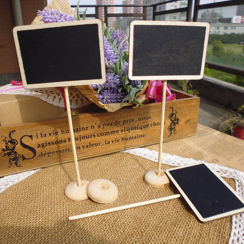 30pcs Mini Rectangle Shaped Wood Chalkboard Blackboard Place Card Holder Notice Message Paint For School Event Office Decoration