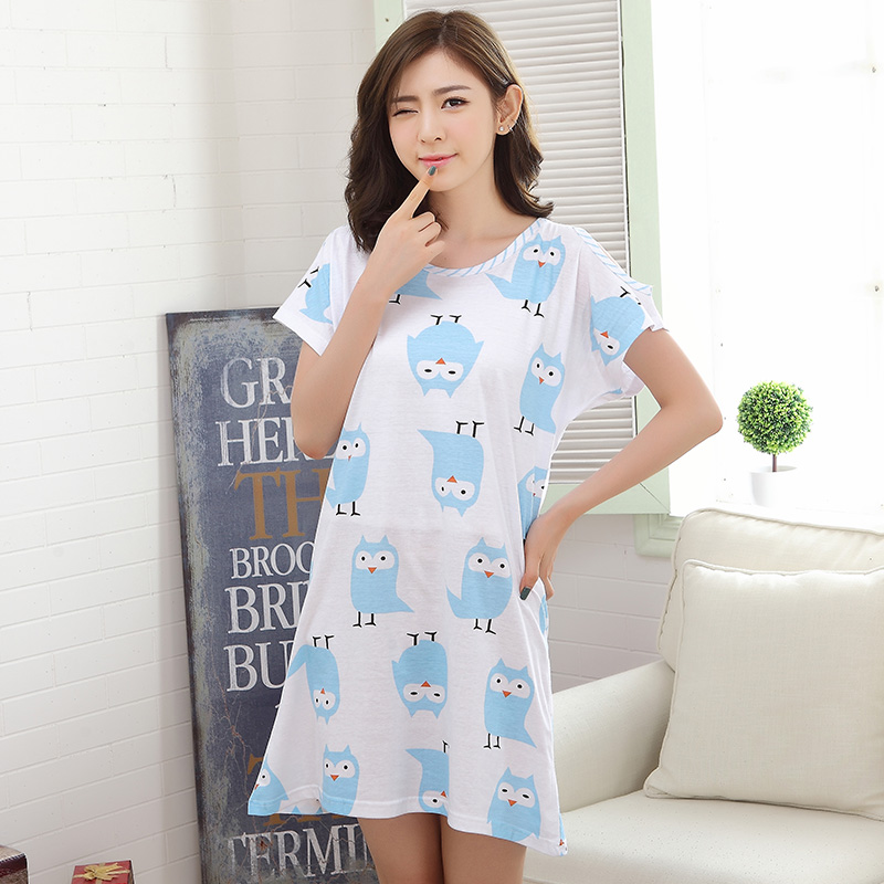 Summer Cotton Dresses Women's   Nightgowns     Sleepshirts   Chic Print Nightdress Girl Sleepwear Femme Pyjamas Women Lounge White Dress
