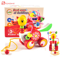 Educational Duckling Trailer Toy Mini Around Beads Learning Game Multicolour Children Kids Puzzle Baby Infant Wooden