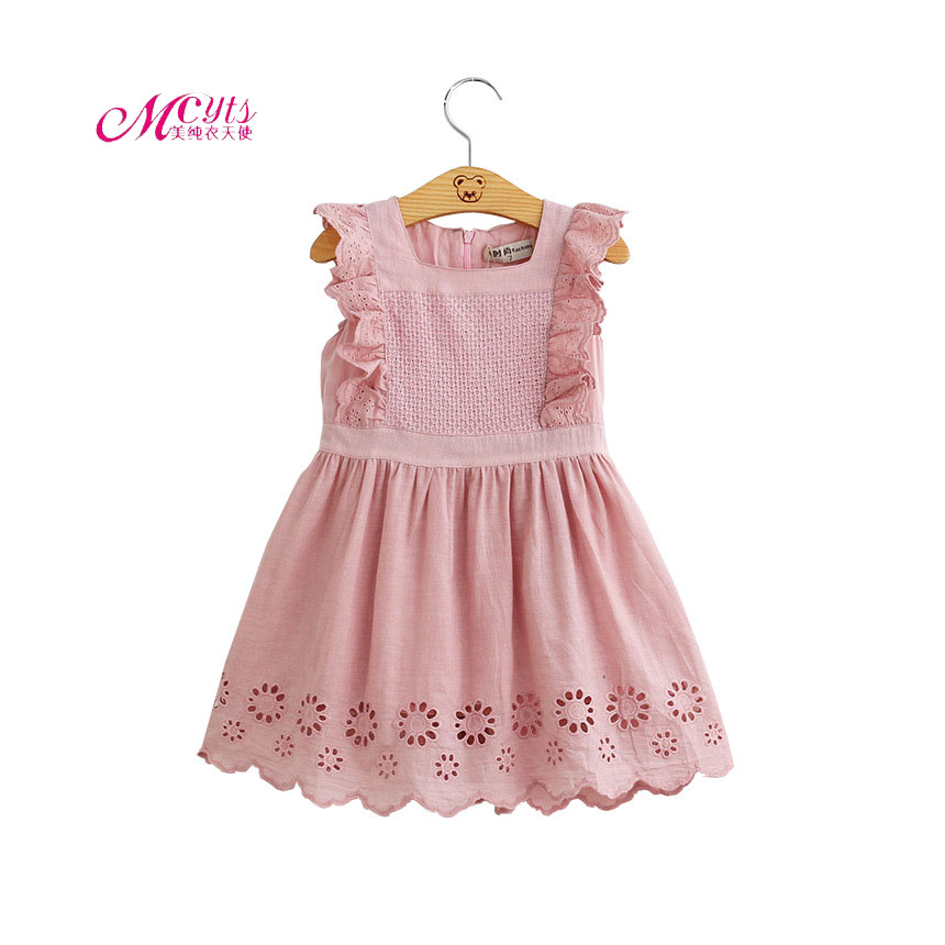 Girls Dress 2019 Summer Princess Dress Cotton Sleeveless Baby Girl Embroidered Vest Dress 2 3 4 5 6 Years Girls Summer Dresses