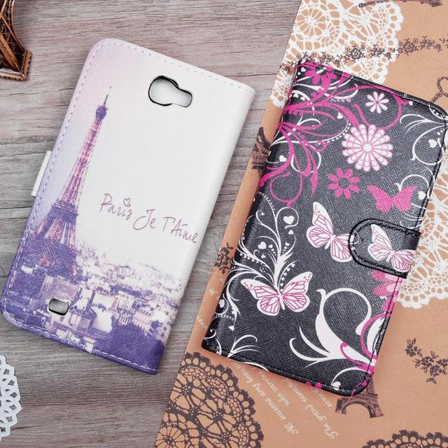 Painting Flip PU Leather Hard Case For Samsung Galaxy Note 2 II N7100 GT-N7100 Phone Bag Stand Wallet Cases Back Cover