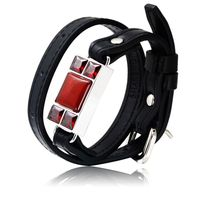 For SHAREMORE Smart Bangle Men Leather Bracelet Wristband Stone Jewelry Gifts Emergency Call Personal Security Wireless