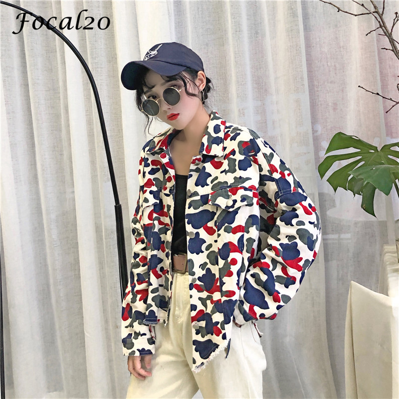 Focal20 Streetwear Camouflage Tassels Ripped Women Jacket Jeans Pockets Turn Down Collar Button Denim Jacket Coat Outwear 10