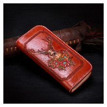 Pure hand craftskin carving elk and flowers of womens leather wallets and purses vegetable tanned leather personality men wallet handmade genuine leather wave wallets carving auspicious clouds bag purses women men long clutch vegetable tanned leather wallet