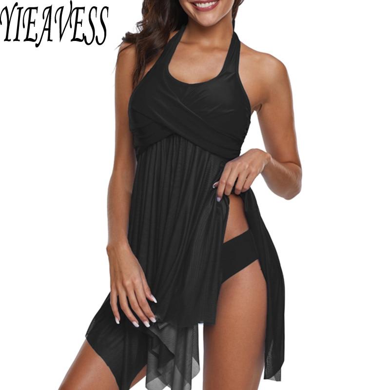 81e91fd03 2019 nuevo conjunto de Tankini de talla grande traje de baño de dos piezas  estampado Halter traje de baño negro traje de baño bikini separado