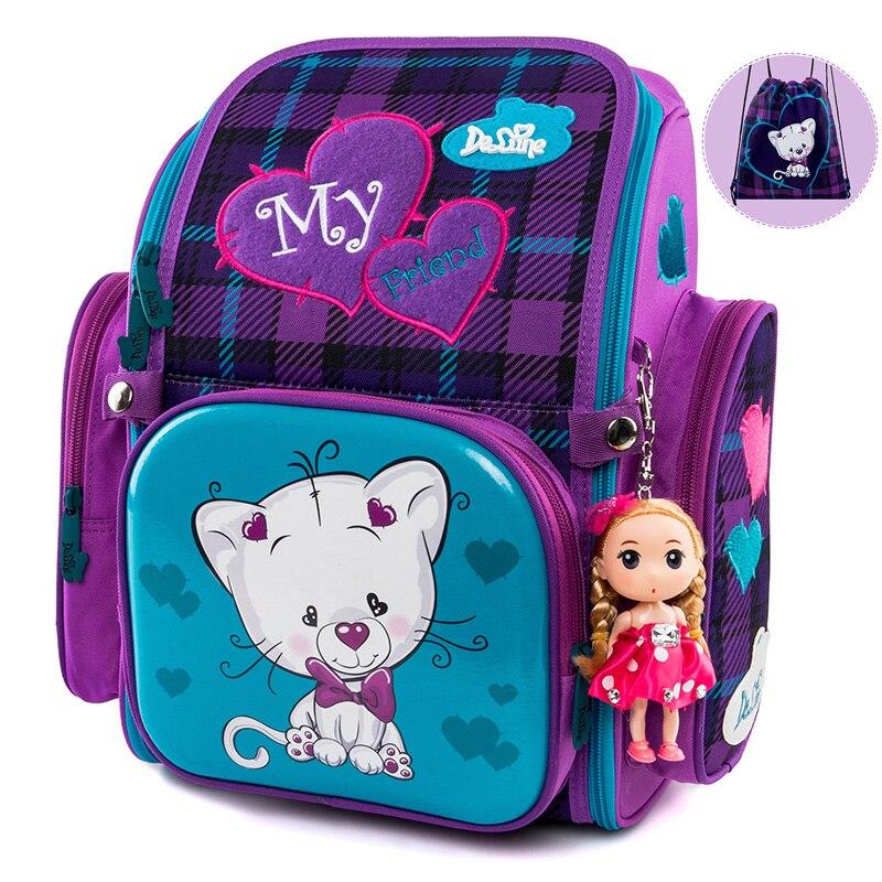 Delune New Children School Backpack For Girls Boys Cartoon Pattern School Bags Orthopedic Backpacks Mochila Infantil Grade 1-5