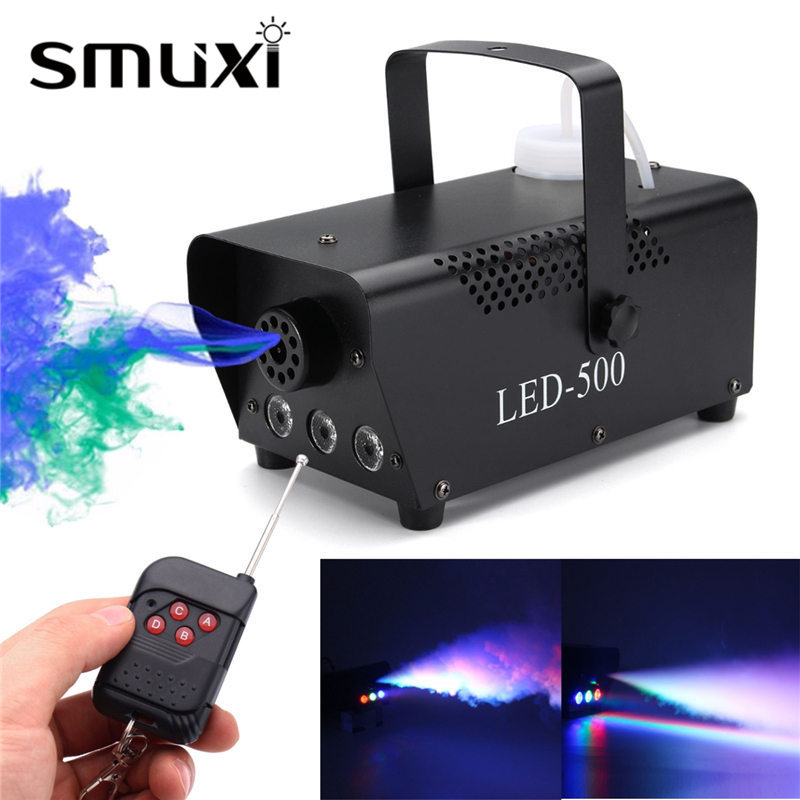 Smuxi RGB LED Wireless Smoke Fog Machine 500W Stage Lighting Effect For DJ Disco Party Club Fogger with Remote 110V-230V 1500w mist haze machine 3 5l fog machine dmx512 smoke machine dj bar party show stage light led stage machine fogger