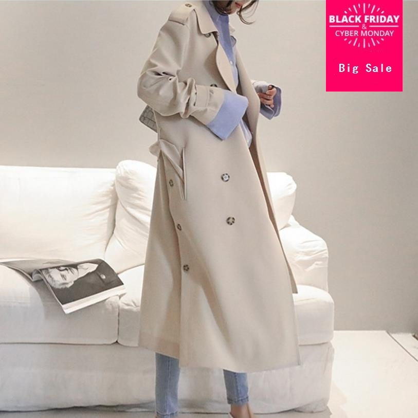 2019 spring autumn new fashion long Double Breasted woemn trench casual style elegant female trench coats gx1125 drop shipping