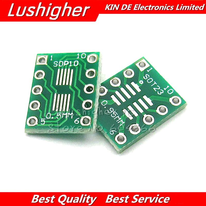 10PCS SOT23 MSOP10 UMAX To DIP10 Transfer Board DIP Pin Board Pitch Adapter New