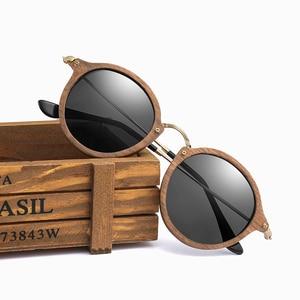 Image 4 - Ультралегкие поляризационные солнцезащитные очки для мужчин и женщин в круглой деревянной оправе с линзами CR39