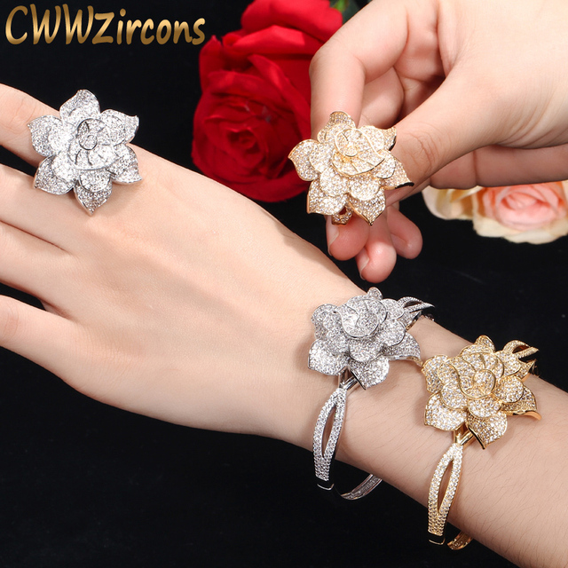 CWWZircons Yellow Gold Color Heart Shape Flower Bridal Wedding Party CZ Bangle Bracelets and Rings Sets for Brides Jewelry T193