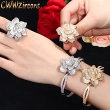 CWWZircons สี Yellow Gold Heart Shape ดอกไม้เจ้าสาวงานแต่งงาน CZ กำไลข้อมือและชุดแหวนสำหรับเจ้าสาวเครื่องประดับ T193