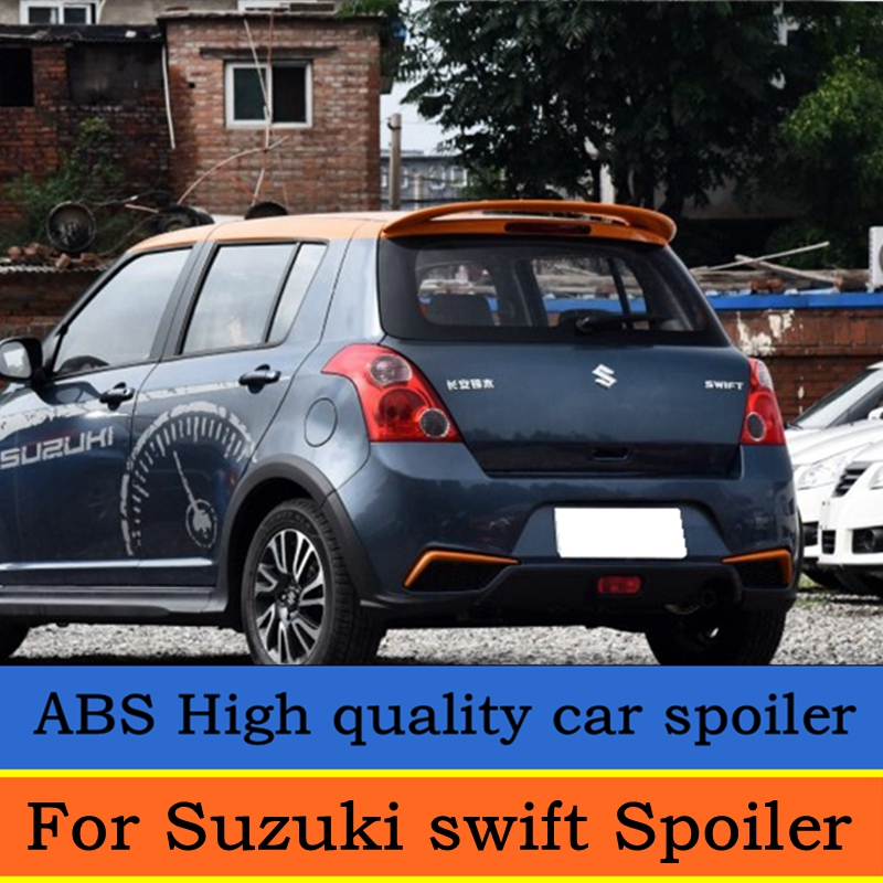 For <font><b>swift</b></font> Spoiler High Quality ABS Material Car Rear Wing <font><b>swift</b></font> Primer Color Rear Spoiler For <font><b>Suzuki</b></font> <font><b>swift</b></font> Spoiler 2007-2013 image