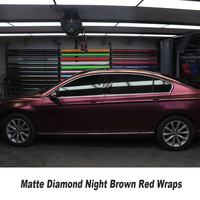 Highest quality series Imported Raw material With Air Bubble Free Car Vehicle wrap matt diamond night brown red wraps