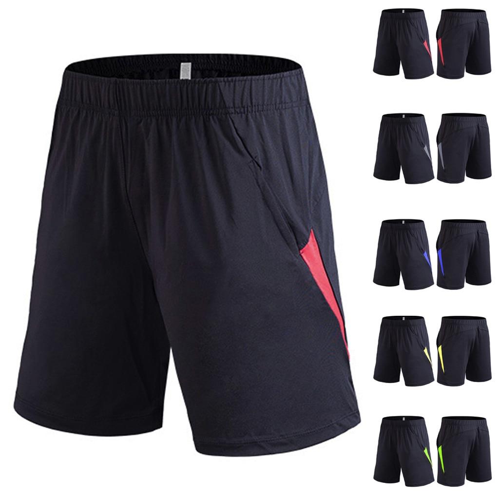 Shorts Men Pantalones Patchwork Bodybuilding-Skin-Tight-Drying Fitness Summer New Masculino