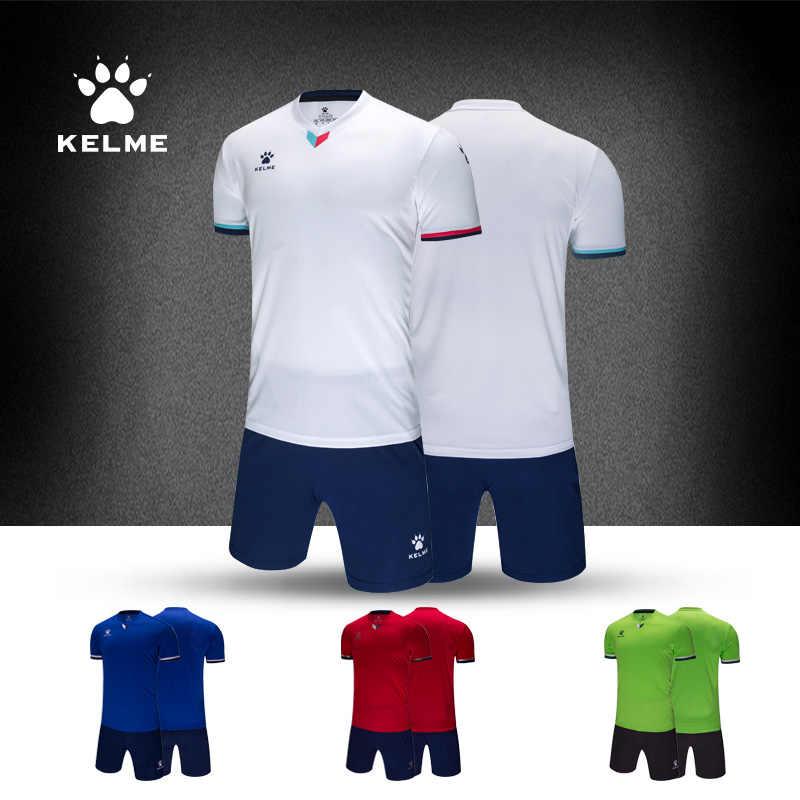 KELME Personalizado Uniformes Jérsei de futebol do Futebol Dos Homens Camisola Da Equipe de Manga Curta de Treino Fato de Treino De Futebol Originais 3891048