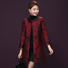 bbe97175b New design autumn Female elegant coat Tang Suit Top long Vintage Cheongsams  style Women's Chinese Traditional Clothes