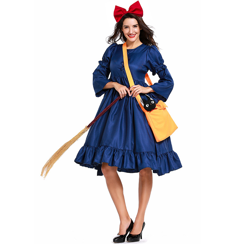 Woman Kiki Cosplay Costumes Kiki's Delivery Service Blue Dress Oversleeve Bowknot Bag Adult Witch Halloween Cosplay Costumes