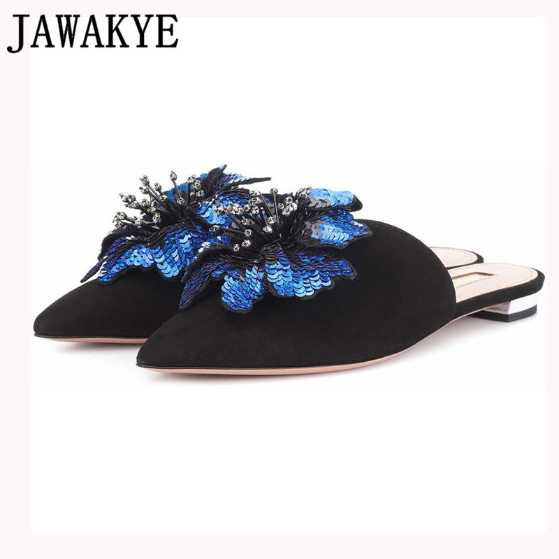 Spring summer slippers women kid suede girl Mules sequins flowers crystal fringe flat flip flops casual
