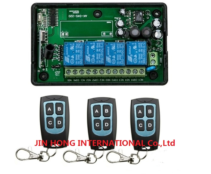 New AC85v~250V 110V 220V 230V 4CH RF Wireless Remote Control Relay Switch Security System Garage Doors, Electric Doors