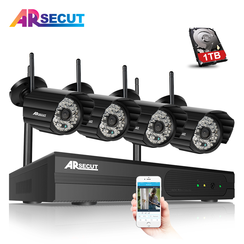 Plug And Play 4CH Wifi NVR CCTV System 960P 1.3MP 48 IR Outdoor Night-Vison Security Camera Kit Home Video Surveillance 1TB HDD mdc3100lt b1 super night vison king exclusive 1 2 cmos mdc cctv camera with mscg glass original mdc camera without bracket