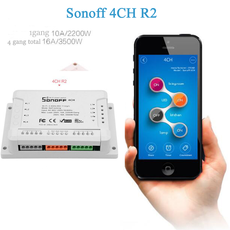 Itead Sonoff 4ch R2 Channel Din Rail Mounting WiFI Switch Smart Home Automation Module on/off Wireless Timer Diy Switch 2200W sonoff 4ch wifi switch smart home automation module on off wireless timer diy switch 10a 2200w works with alexa google home