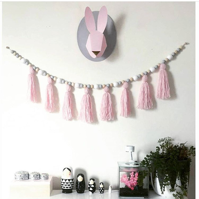 Nordic Style Kids Room Decor Wood Beads Hanging With Tassel Decorative Bed Hanging Wall Hanging Children Room Store Decoration