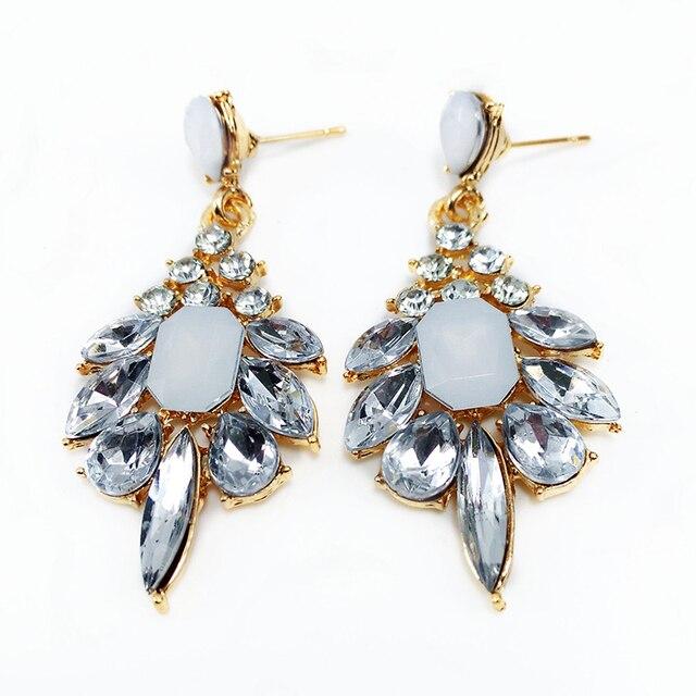 Lnrrabc 2pcs Pair Hot Hyperbolic Elegant Precious Stone Earrings Crystal Eardrops Formal Dress Accessories