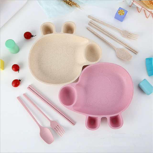 Baby Tableware Set Pig Peggy Wheat Straw Bowls Infant Feeding Plate