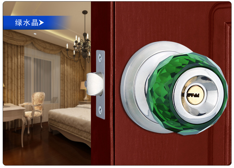 Copper latch bed room lock luxury glass crystal ball lock wood indoor lock Euro style metal green door lock ceramic lock the door when indoor european ball lock hold hand lock copper core ss