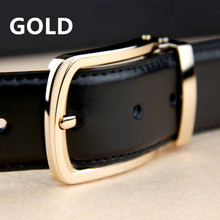 2017 New Business Belt 100% Cowhide leather belts for men Brand ceinture Homme Metal buckle Color Black Belt male freeshipping