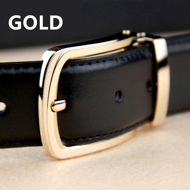 2017 New Business Belt 100% Cowhide leather belts for men Brand ceinture Homme Metal buckle Color Black Belt male freeshipping