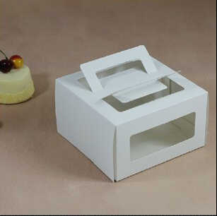 "Free Shipping 50pcs/lot White 6"" Cheese Cake Box With PVC Window No Printing/ Accept Customized LOGO"