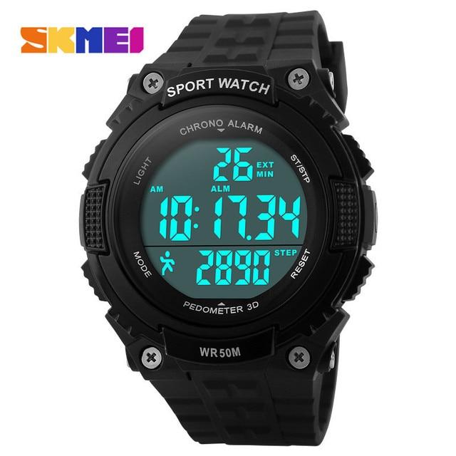 7a7fa02c066 Pedômetro Execução Relógios Homens Boy Mulheres Esporte LED Relógio Digital  de 50 M À Prova D