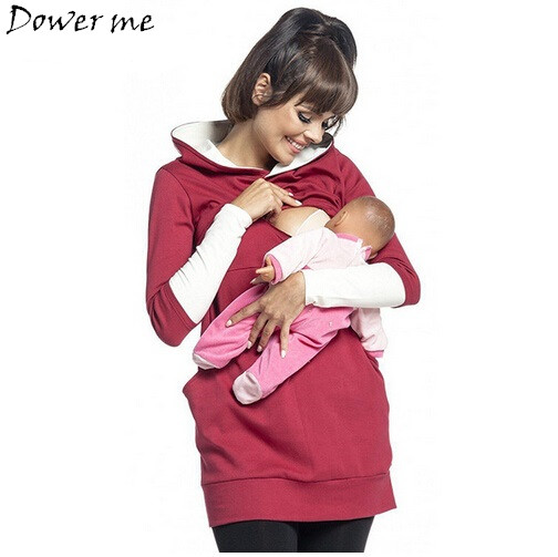 Maternity Pregnant Women Nursing Long Sleeve Breastfeeding Hoodie Autumn Winter Tops Jumper Top Pullover Casual Sweatshirts stylish flocking print long sleeve hoodie for women