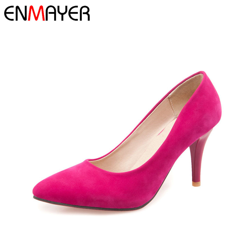 ENMAYER Classic Pointed-Toe Slip-On High Heels Pumps Basic Shallow Thin Heels Office Wedding Dress for Woman Shoes Size 34-43 enmayer mirror med heels crystal flowers square heels pointed toe dress slip on pumps elegant shallow spring8autumn woman shoes
