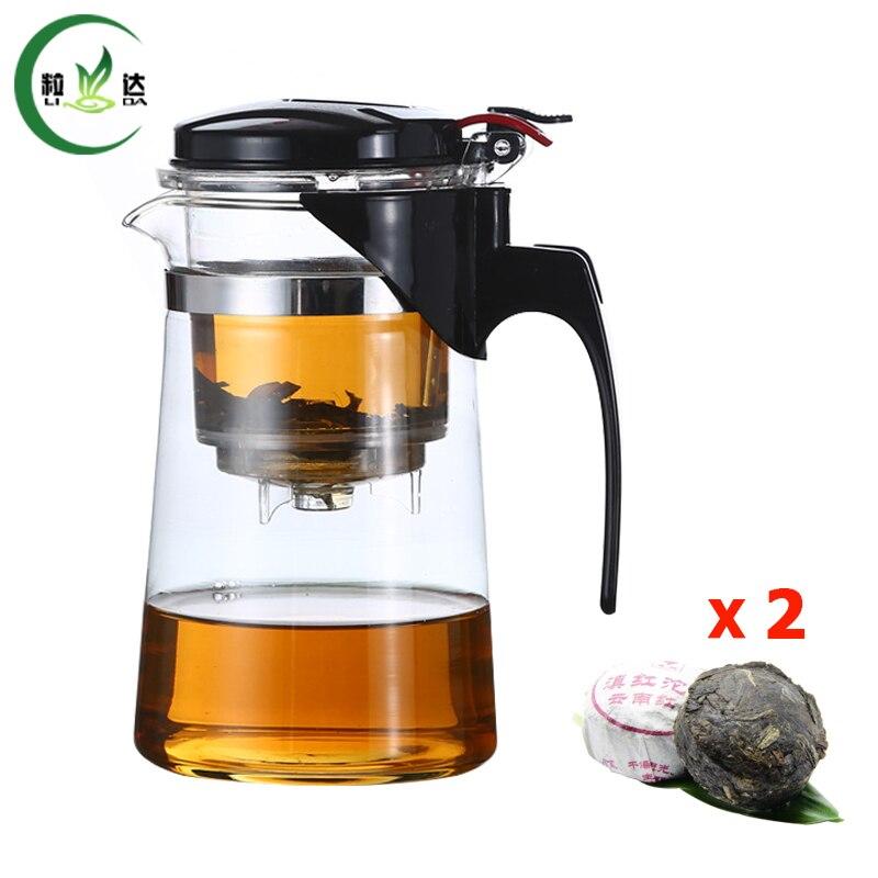 T Förmigen 500 ml Glas Wasserkocher Mit Filter Glass Teaset Mit Infuser Grüner Tee Teekanne Oolong-Tee Mit Mini Puer Tee Geschenk