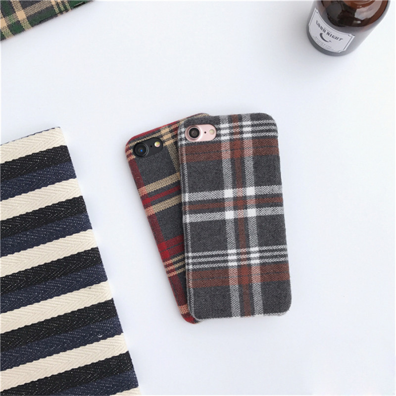 LUDI Britain style Grid Cloth Fabrics Grid Cloth Back Cover for iphone X 8 7 Plus Soft Phone Case for iphone 6 6S 66sPlus      8