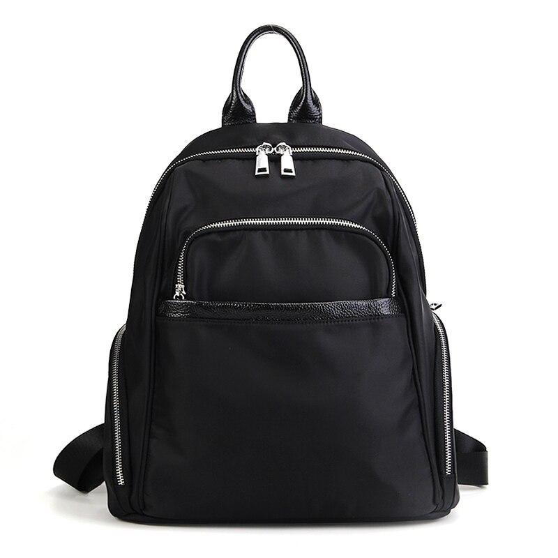 Mode Nylon Oxford sac à dos sac à bandoulière loisirs noir femmes sac à dos sacs d'école pour adolescente filles grande petite taille # LF88282