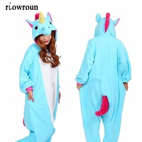 Unisex Adults Flannel Hoodie Pajamas Costume Cosplay Animal Onesies Sleepwear Men Women Unicorn Stitch Panda Free