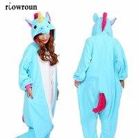 Unisex Adults Flannel Hoodie Pajamas Costume Cosplay Animal Onesies Sleepwear Men Women Unicorn Stitch Panda Free