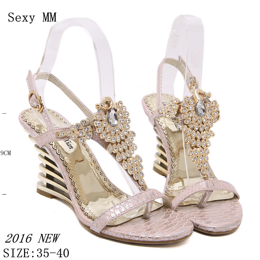 High Heel Wedge Sandals 2016 Buckle Open Toe Women's Summer Shoes Sexy Summer Brand New Wedges Gladiator Sandals Women t strap round toe women lolita wedge high heel shoes new 2017 side open japanese style wedges with buckle straps free shipping