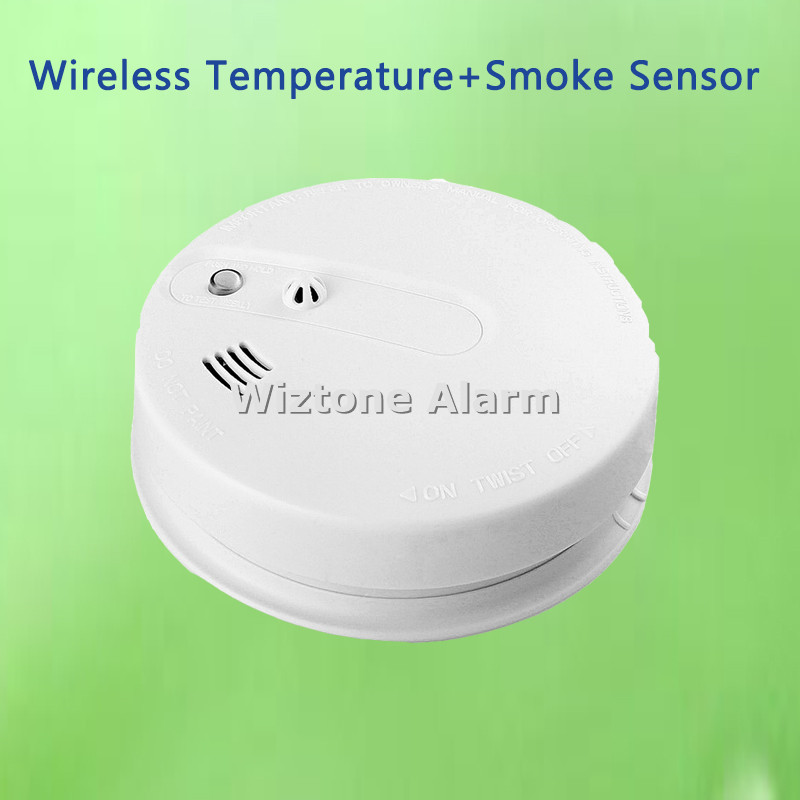 Independent / Wireless Heat + Smoke Detector Temperature Sensor Kitchen Fire Alarm Sensor for Wireless WIFI GSM PSTN Alarm wireless smoke fire detector for wireless for touch keypad panel wifi gsm home security burglar voice alarm system
