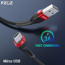 Pzoz cabo micro usb 3a, cabo de carregamento rápido para samsung huawei xiaomi redmi, honor, lg, dados android, carregador de celular microusb cabo de fio