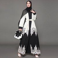 2019 New Middle Eastern Muslim Religious Dress Women Fashion Lace Hollow Black White Cardigan Large Plus Size Dresses with Blet