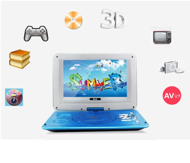 2019 New 14 Inch HD Portable Rotating Screen Smart TV EVD DVD Player Mini TF Card And USB Audio And Video Playback Television 3