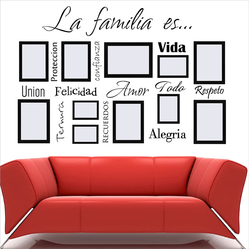 Free Shipping Spanish Wall Art Decals La Familia Es Vinyl Lettering Words Quote Sticker Mural For Photo Frame Decoration