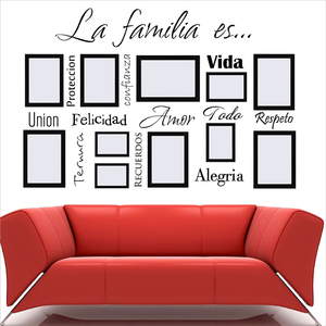 Free Shipping Spanish Wall Art Decals La Familia Es Vinyl Lettering Words Quote Sticker Mural For Photo Frame Decoration(China)